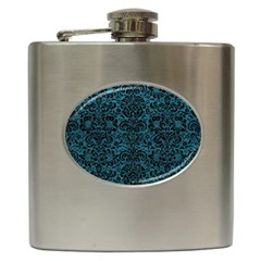 Damask2 Black Marble & Teal Leather Hip Flask (6 Oz) by trendistuff