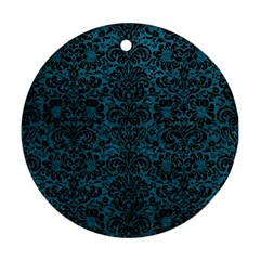 Damask2 Black Marble & Teal Leather Round Ornament (two Sides) by trendistuff