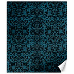 Damask2 Black Marble & Teal Leather Canvas 20  X 24