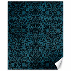 Damask2 Black Marble & Teal Leather Canvas 11  X 14   by trendistuff