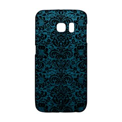 Damask2 Black Marble & Teal Leather Galaxy S6 Edge by trendistuff