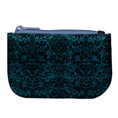 Damask2 Black Marble & Teal Leather Large Coin Purse