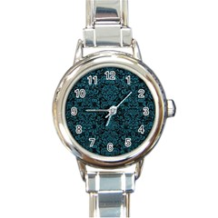 Damask2 Black Marble & Teal Leather (r) Round Italian Charm Watch by trendistuff