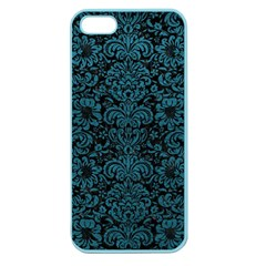 Damask2 Black Marble & Teal Leather (r) Apple Seamless Iphone 5 Case (color) by trendistuff