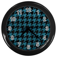 Houndstooth1 Black Marble & Teal Leather Wall Clocks (black) by trendistuff