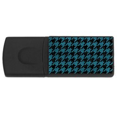 Houndstooth1 Black Marble & Teal Leather Rectangular Usb Flash Drive by trendistuff