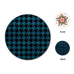 Houndstooth1 Black Marble & Teal Leather Playing Cards (round)  by trendistuff