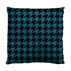 Houndstooth1 Black Marble & Teal Leather Standard Cushion Case (one Side) by trendistuff