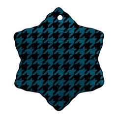 Houndstooth1 Black Marble & Teal Leather Snowflake Ornament (two Sides) by trendistuff