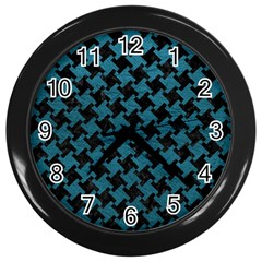 Houndstooth2 Black Marble & Teal Leather Wall Clocks (black) by trendistuff