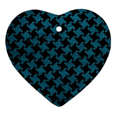 Houndstooth2 Black Marble & Teal Leather Heart Ornament (two Sides) by trendistuff