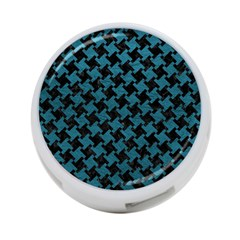 Houndstooth2 Black Marble & Teal Leather 4 Port Usb Hub (two Sides)  by trendistuff