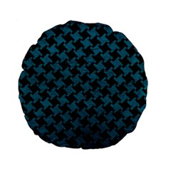 Houndstooth2 Black Marble & Teal Leather Standard 15  Premium Flano Round Cushions by trendistuff