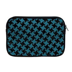 Houndstooth2 Black Marble & Teal Leather Apple Macbook Pro 17  Zipper Case by trendistuff