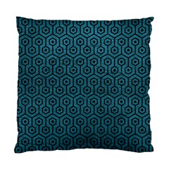 Hexagon1 Black Marble & Teal Leather Standard Cushion Case (one Side) by trendistuff