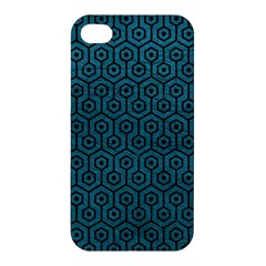 Hexagon1 Black Marble & Teal Leather Apple Iphone 4/4s Hardshell Case by trendistuff