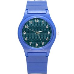 Hexagon1 Black Marble & Teal Leather Round Plastic Sport Watch (s) by trendistuff
