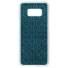 Hexagon1 Black Marble & Teal Leather Samsung Galaxy S8 White Seamless Case by trendistuff