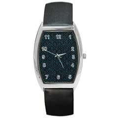 Hexagon1 Black Marble & Teal Leather (r) Barrel Style Metal Watch by trendistuff