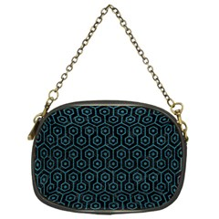 Hexagon1 Black Marble & Teal Leather (r) Chain Purses (one Side)  by trendistuff