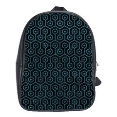 Hexagon1 Black Marble & Teal Leather (r) School Bag (xl) by trendistuff