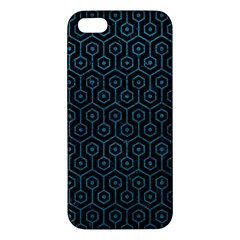 Hexagon1 Black Marble & Teal Leather (r) Apple Iphone 5 Premium Hardshell Case by trendistuff