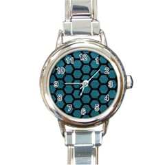 Hexagon2 Black Marble & Teal Leather Round Italian Charm Watch by trendistuff