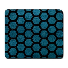Hexagon2 Black Marble & Teal Leather Large Mousepads by trendistuff