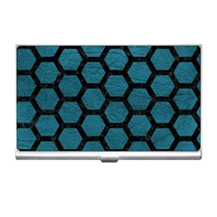 Hexagon2 Black Marble & Teal Leather Business Card Holders