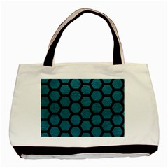 Hexagon2 Black Marble & Teal Leather Basic Tote Bag by trendistuff