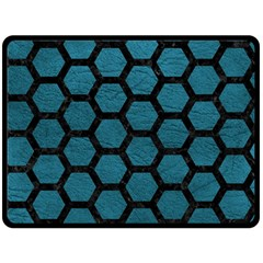 Hexagon2 Black Marble & Teal Leather Double Sided Fleece Blanket (large)  by trendistuff