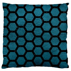 Hexagon2 Black Marble & Teal Leather Large Flano Cushion Case (one Side) by trendistuff