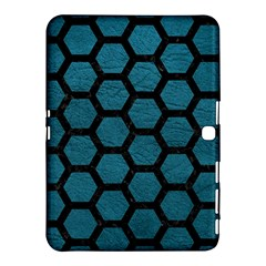 Hexagon2 Black Marble & Teal Leather Samsung Galaxy Tab 4 (10 1 ) Hardshell Case  by trendistuff