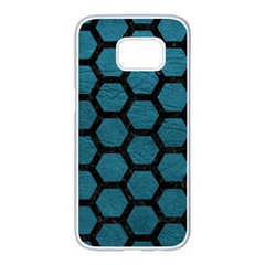 Hexagon2 Black Marble & Teal Leather Samsung Galaxy S7 Edge White Seamless Case by trendistuff