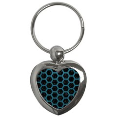 Hexagon2 Black Marble & Teal Leather (r) Key Chains (heart)  by trendistuff