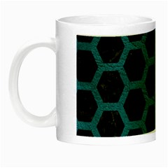 Hexagon2 Black Marble & Teal Leather (r) Night Luminous Mugs by trendistuff