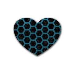 Hexagon2 Black Marble & Teal Leather (r) Rubber Coaster (heart)  by trendistuff