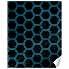 Hexagon2 Black Marble & Teal Leather (r) Canvas 11  X 14   by trendistuff