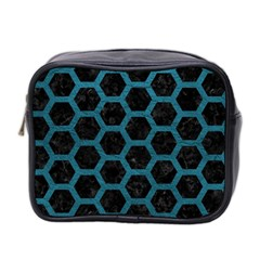 Hexagon2 Black Marble & Teal Leather (r) Mini Toiletries Bag 2 Side by trendistuff