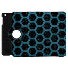 Hexagon2 Black Marble & Teal Leather (r) Apple Ipad Mini Flip 360 Case by trendistuff