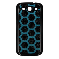 Hexagon2 Black Marble & Teal Leather (r) Samsung Galaxy S3 Back Case (black) by trendistuff