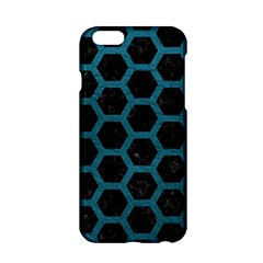Hexagon2 Black Marble & Teal Leather (r) Apple Iphone 6/6s Hardshell Case by trendistuff