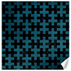 Puzzle1 Black Marble & Teal Leather Canvas 12  X 12