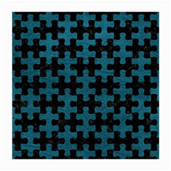 Puzzle1 Black Marble & Teal Leather Medium Glasses Cloth (2 Side) by trendistuff