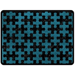 Puzzle1 Black Marble & Teal Leather Fleece Blanket (large)  by trendistuff