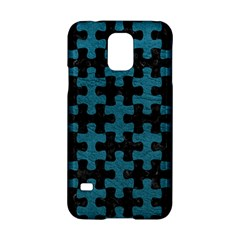 Puzzle1 Black Marble & Teal Leather Samsung Galaxy S5 Hardshell Case