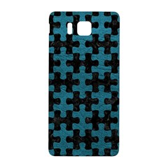 Puzzle1 Black Marble & Teal Leather Samsung Galaxy Alpha Hardshell Back Case by trendistuff