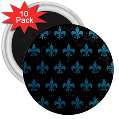 Royal1 Black Marble & Teal Leather 3  Magnets (10 Pack)  by trendistuff