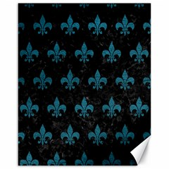 Royal1 Black Marble & Teal Leather Canvas 16  X 20   by trendistuff