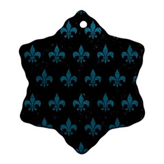 Royal1 Black Marble & Teal Leather Ornament (snowflake) by trendistuff